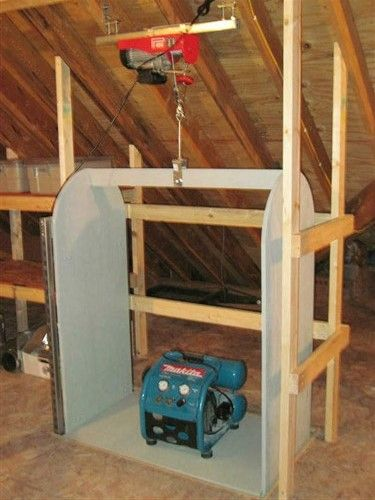 Pin by joe kelly on garage things pinterest attic lift attic the only thing id do differently is to connect the cable to both ends of the frame it would be more stable solutioingenieria Images