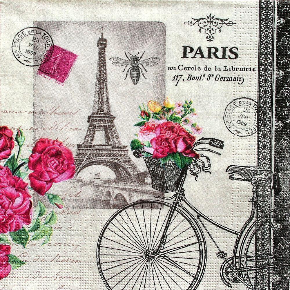 Parisian Vintage Scrapbook Paper Paper Lunch Napkins