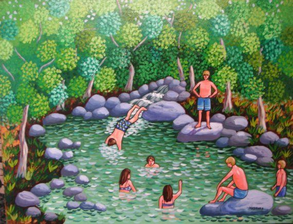 Canada ~ The Pool Folk Art ~ by Jordanka Yaretz