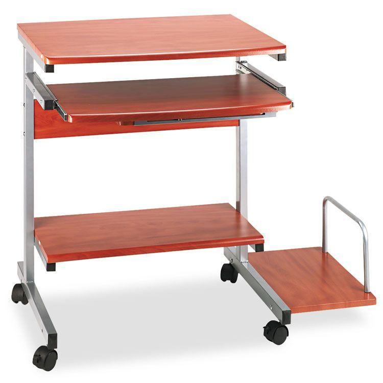 Portrait Pc Desk Cart Mobile Workstation, 36-1/2w X 19-1/4d X 31h, Medium Cherry