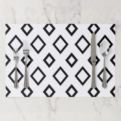 Abstract Geometric Pattern  Black And White Paper Placemat