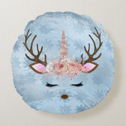 Girly baby blue marble unicorn reindeer snowflakes round pillow