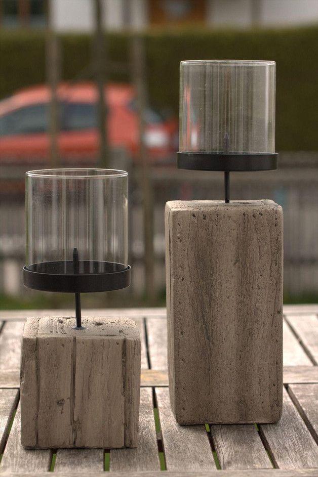 kerzenst nder kerzenhalter aus beton mit windschutzglas gro ein designerst ck von die. Black Bedroom Furniture Sets. Home Design Ideas