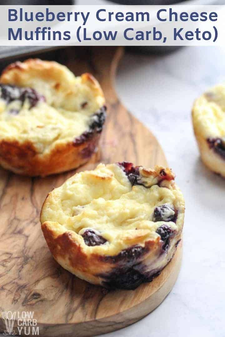 A low carb blueberry cheese muffin recipe that's more like mini cheesecakes. These gluten free desserts can be eaten plain or with fruit and nuts on top. | lowcarbyum.com #lowcarbyum
