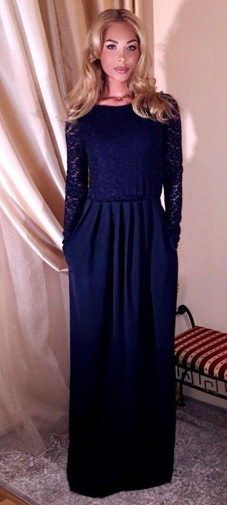 Navy Blue Casual Long Maxi Dresses