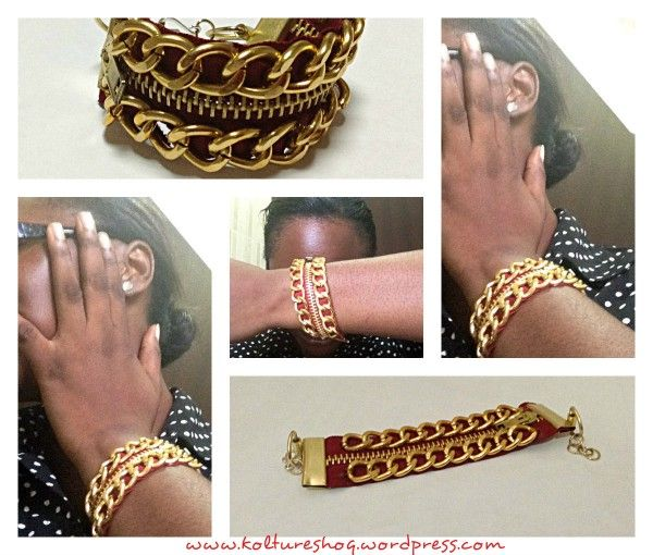 DIY Bracelet with Zipper and Chain 2