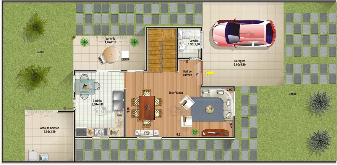 Sobrado com dois dormitórios e uma suíte.       Garagem com 25,55 m2 de área.       Salas de estar e jantar conjugadas, e cozinha bem ampla.       Telhado em telh...