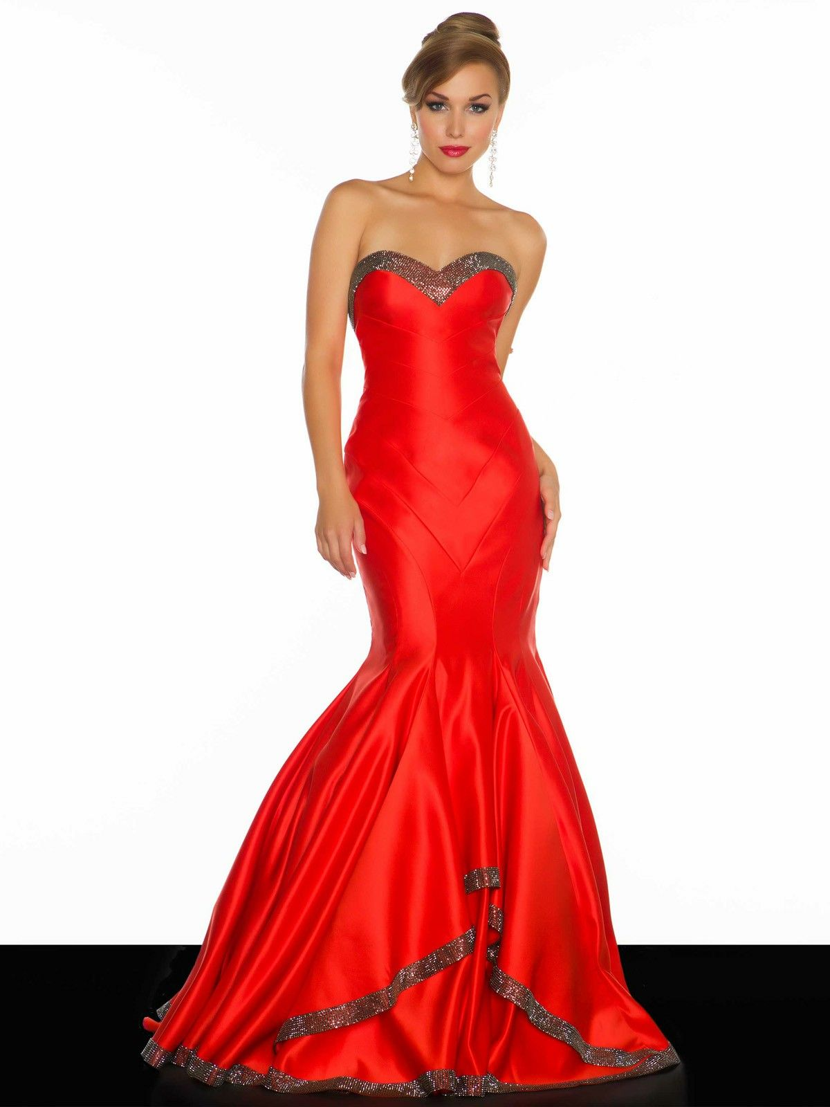 Luxurious sweetheart red trumpet mermaid pageant prom dress cmd