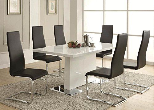 This Contemporary Dining Table Will Be The Showpiece Of Your Room Features A Glossy White Surface With Chrome Metal Accents On Base