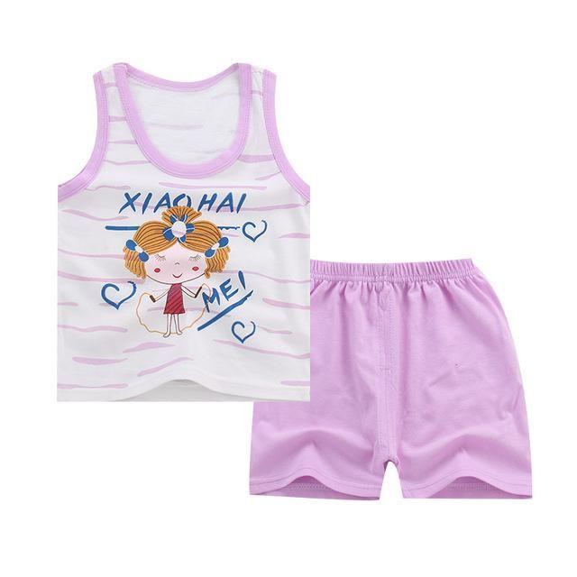 Summer 2pcs Suits Baby Boy Clothing Set Cartoon Boys Girls Vest Clothes Set Cotton Sleeveless Sports T Shirts Toddler Shorts #toddlershorts