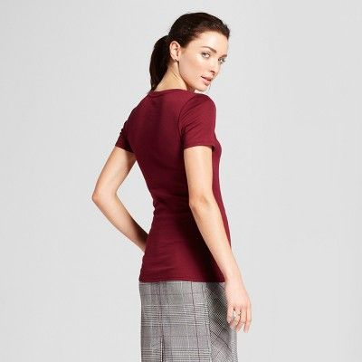 eeaad439af6 Women s Fitted Short Sleeve Crew T-Shirt - A New Day Maroon (Red) M ...