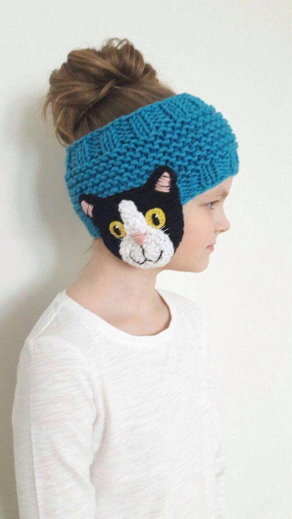 Knit Headband, Cat Headband, Ear Warmer, Messy Bun Hat, Cat Lover ...