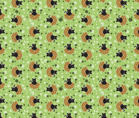 Black Cats in Boxes on Green fabric by ameliae on Spoonflower - custom fabric