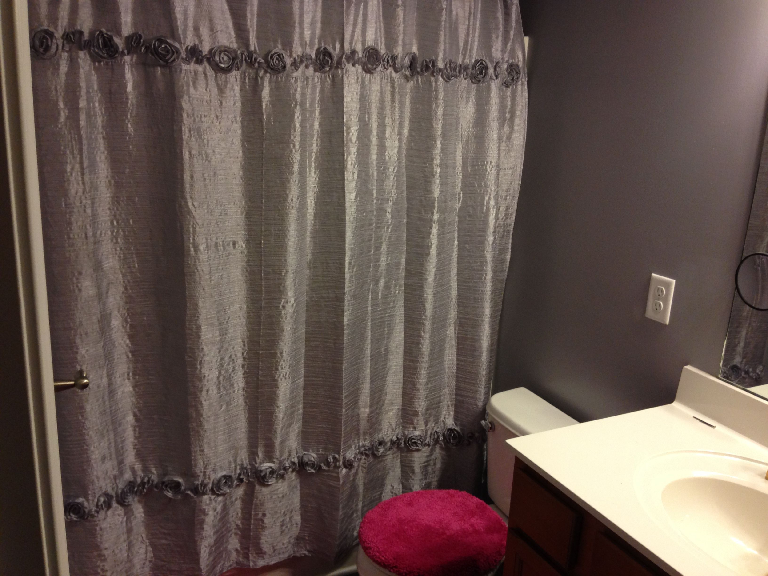 Grey bathroom with pink accent curtainsideasikea curtains ideas