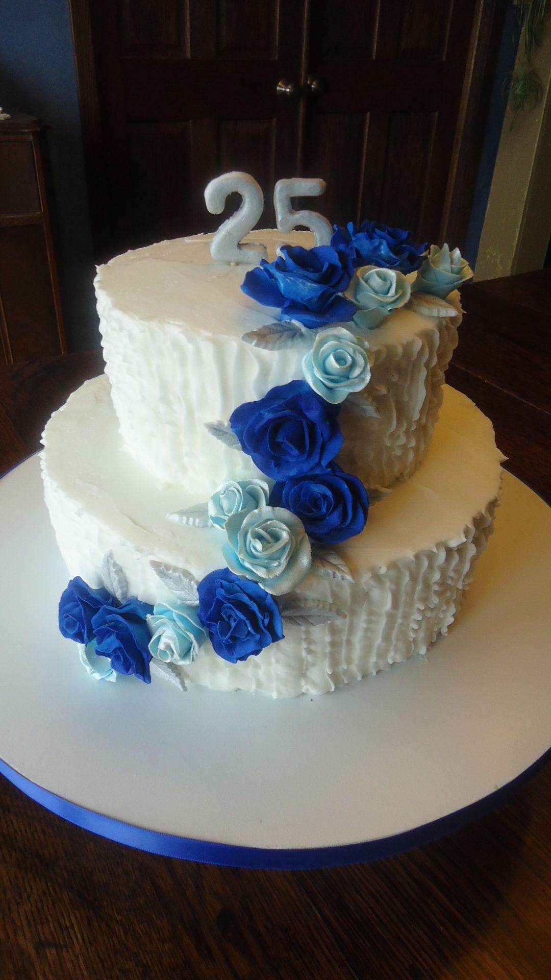 25th Wedding Anniversary Cake Royal Amp Ice Blue Roses