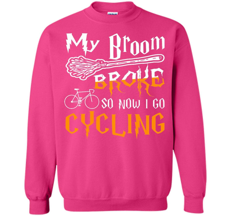 My broom broke so now i go cycling halloween tshirt tshirt