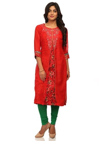 67cd427f8b2 Red+straight+kurta+with+front+slit ,+round+neck,+¾+sleeves,+printed+inner+layer+and+embroidered+yoke+and+cuffs.