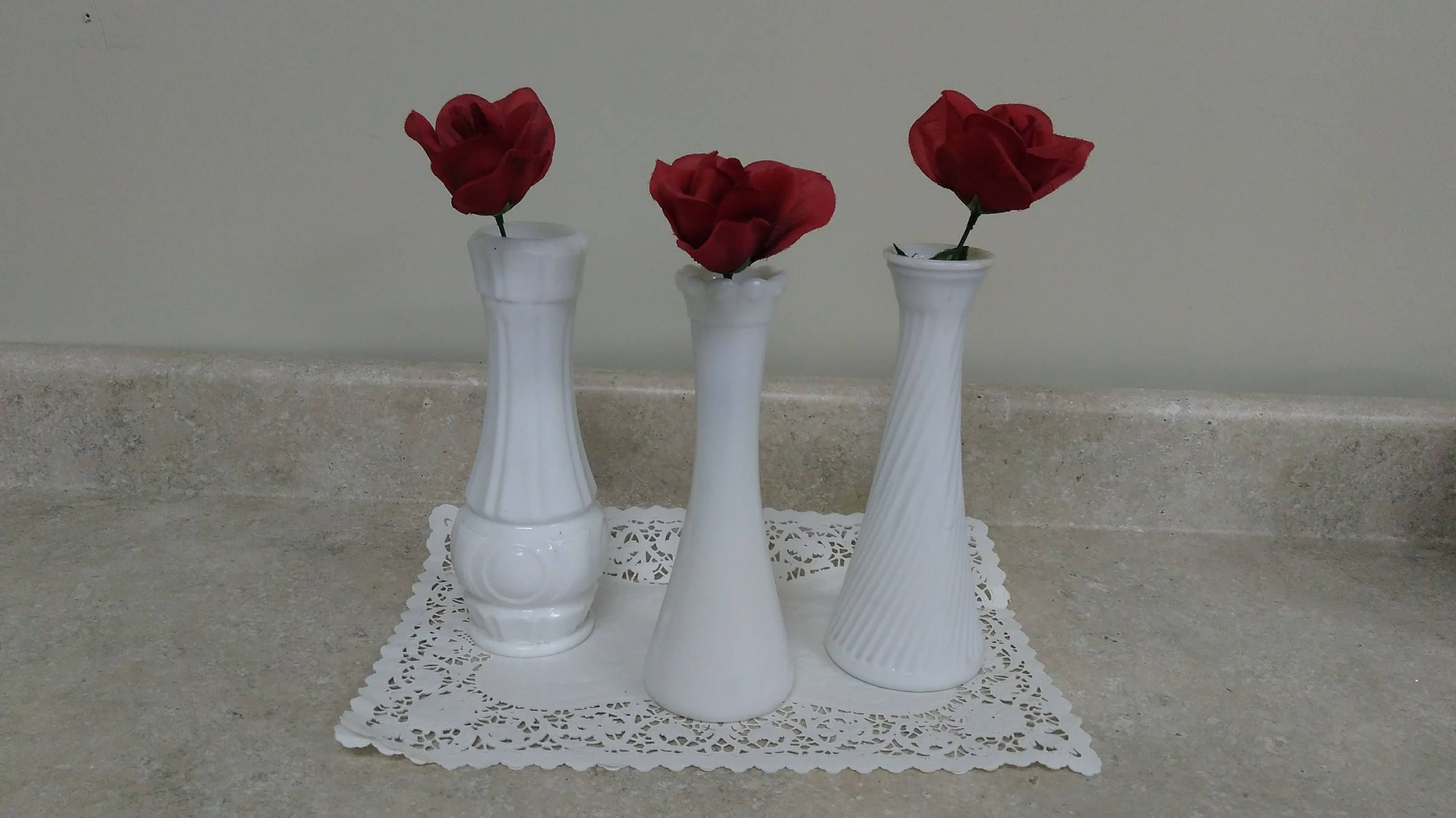 Set Of 3 Milk Glass Bud Vases Weeding Centerpiece Shabby Chic Cottage Decor by MyPurpleCowLuvsMilk on Etsy
