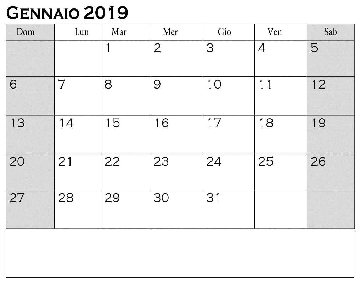 Calendario Gennaio.Calendario Gennaio 2019 Da Stampare Calendario Gennaio
