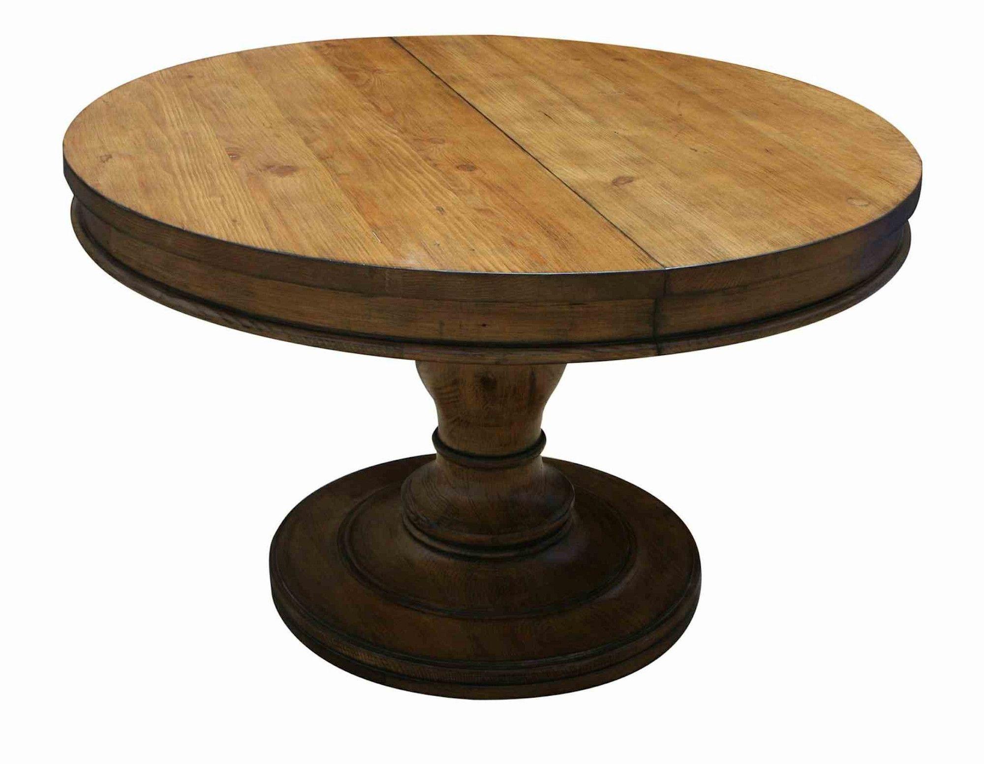 Westport Round Reclaimed Wood Extension Pedestal Table Reclaimed