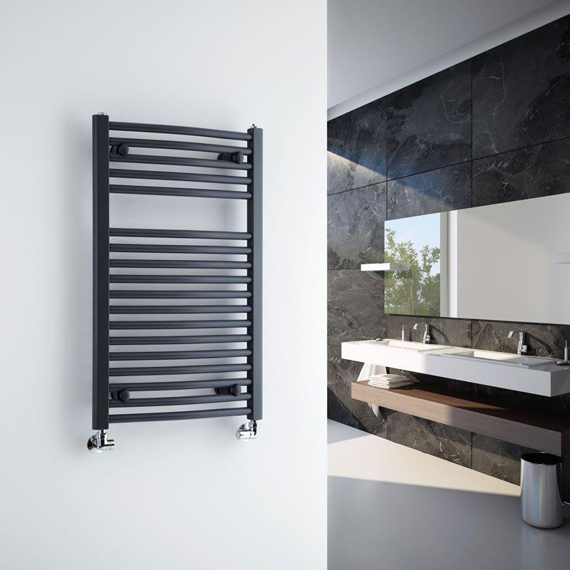 Milano Brook Anthracite Curved Heated Towel Rail 800mm X 500mm Seche Serviette Porte Serviette Renovation Salle De Bain