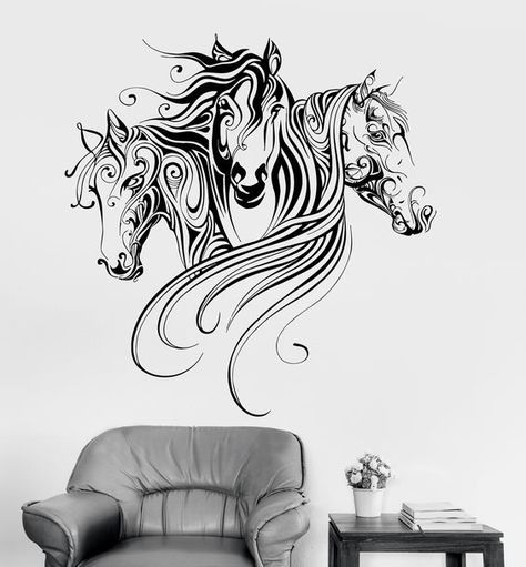 Vinyl Wall Decal Horses Animal Patterns Room Decoration Stickers Mural Ig3379