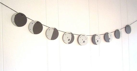 PHASES of the Moon Banner, Childs Bedroom Banner, Customizable, Astronomy Banner, Space PARTY, Gray and Black on Etsy, $22.50