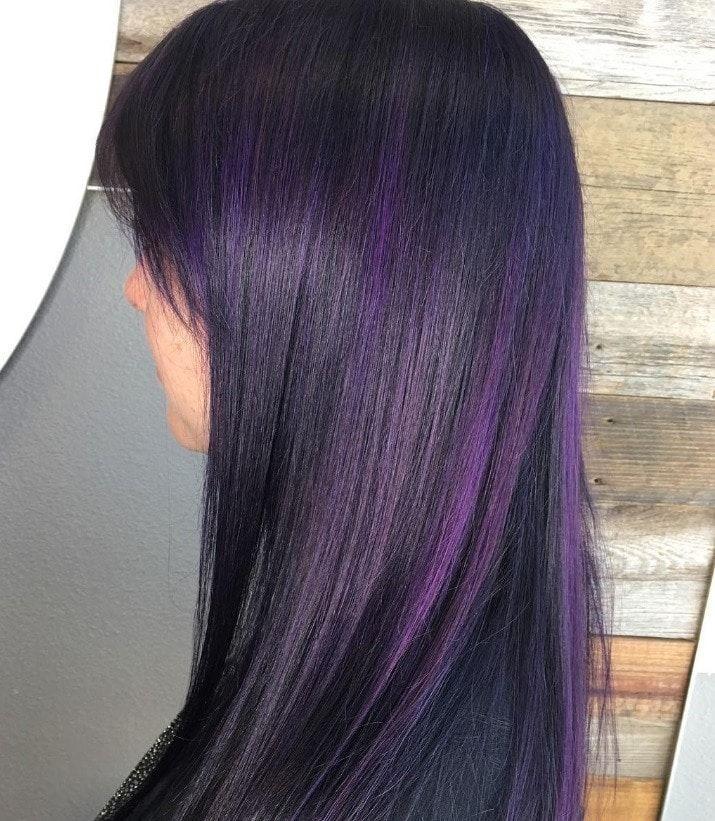 Purple Highlights All Things Hair Image Instagram Trend Brown Hair Purple Straight Purple Highlights Brown Hair Hair Color Purple Purple Hair Highlights