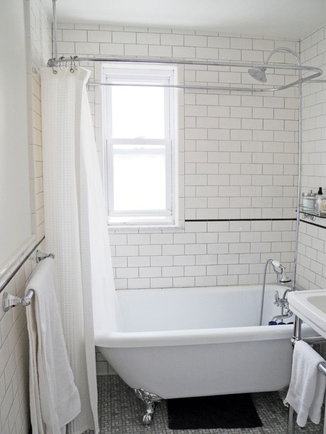 See how this old blue bathroom went from icky to urban for Urban bathroom ideas