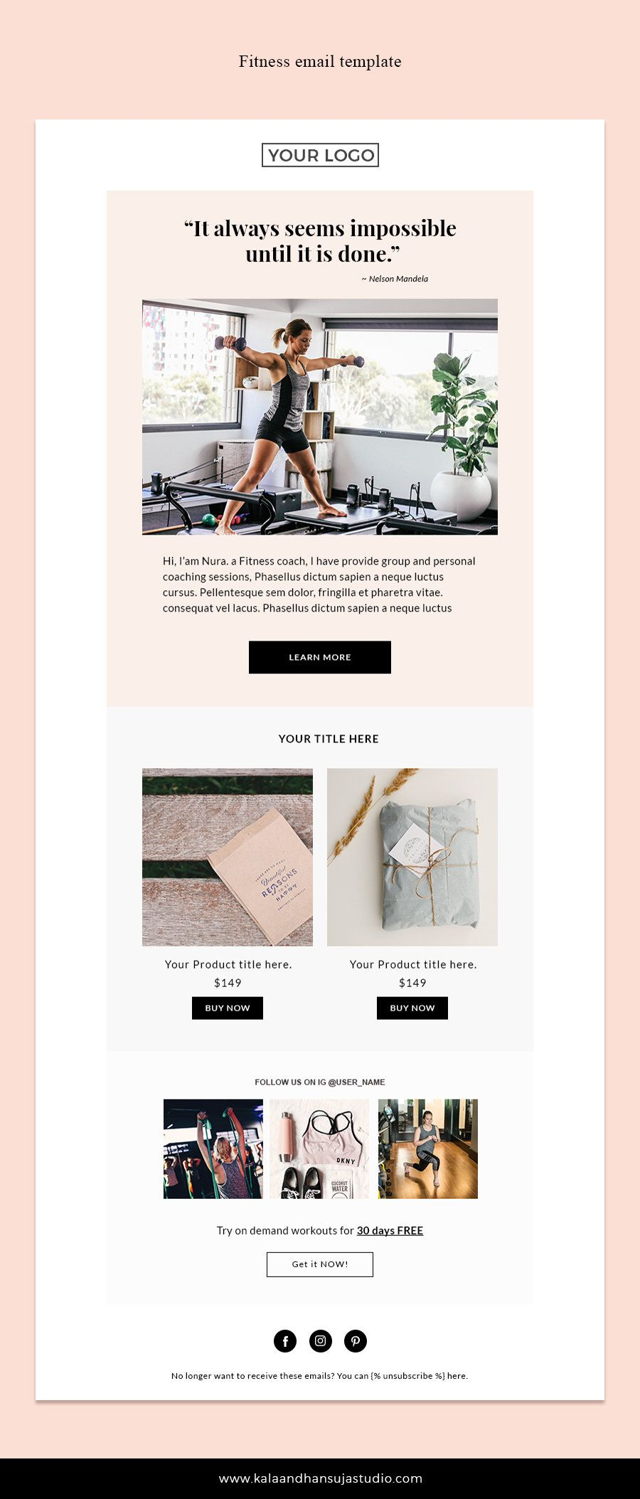 Fitness Email Template Mailchimp Newsletter Template Email
