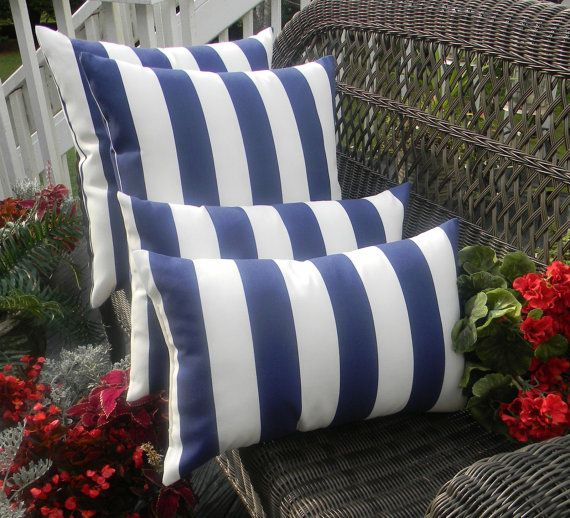 Set Of 4 Pillow Covers Indoor Outdoor Navy Blue White