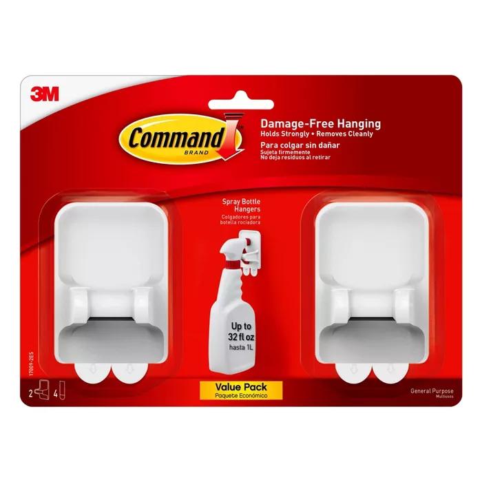 Command 2 Hangers 4 Strips Per Pk Spray Bottle Hangers White In 2020 Cleaning Spray Bottle Spray Bottle Cleaning Spray