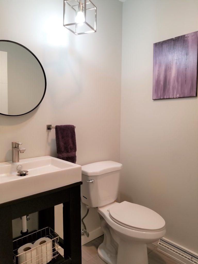 Round Bathroom Mirror In Gray And Purple Half Bath Round Mirror Bathroom Bathroom Mirror Framed Bathroom Mirror