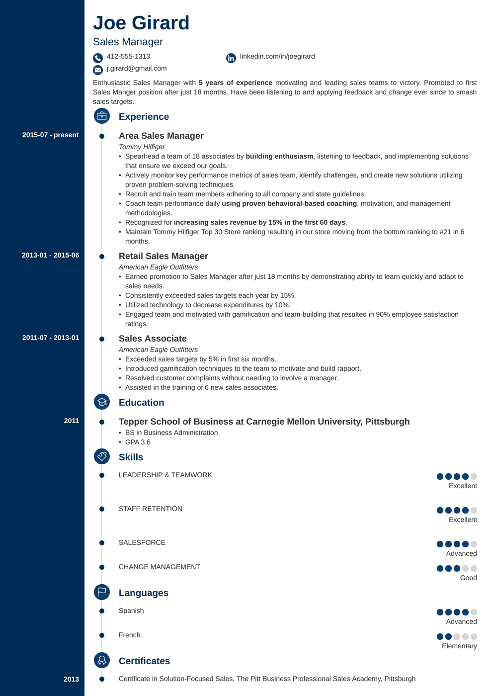 sales manager resume template concept in 2020 Resume