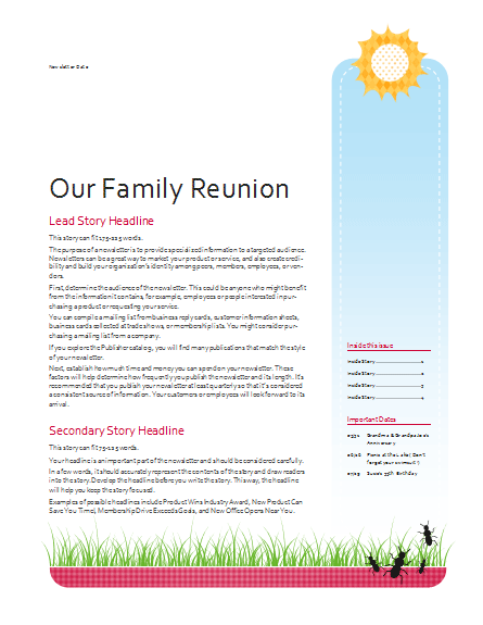 family reunion newsletter template google search family reunion pinterest. Black Bedroom Furniture Sets. Home Design Ideas