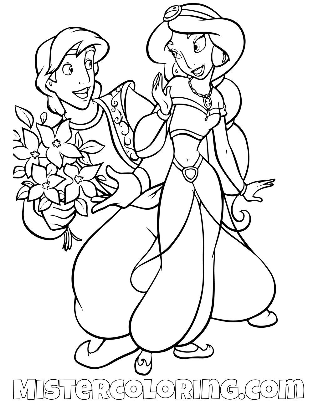 Aladdin Offering Princess Jasmine Flowers Aladdin Coloring Page Mermaid Coloring Pages Princess Coloring Pages Coloring Pages