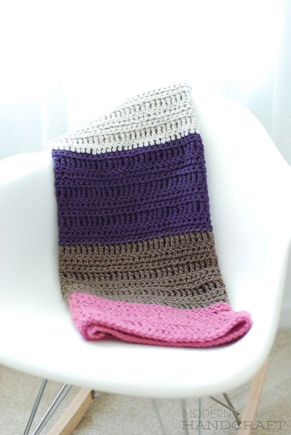 see pics of simple solid bold striped crochet blankets in various modern colors