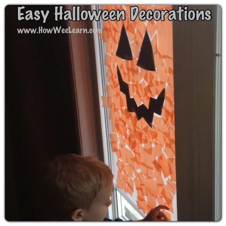 Easy Preschool Halloween Decorations Jack-o-Lantern Windows - preschool halloween decorations
