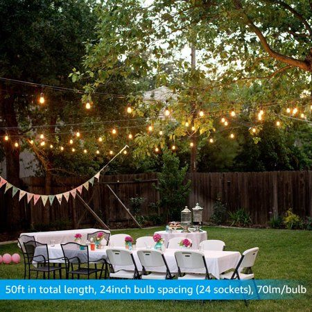 50ft Commercial Weatherproof String Lights, Outdoor String Lights for Party, Restaurant, Garden, Patio, 24 Sockets, 36 Bulbs Included - Walmart.com