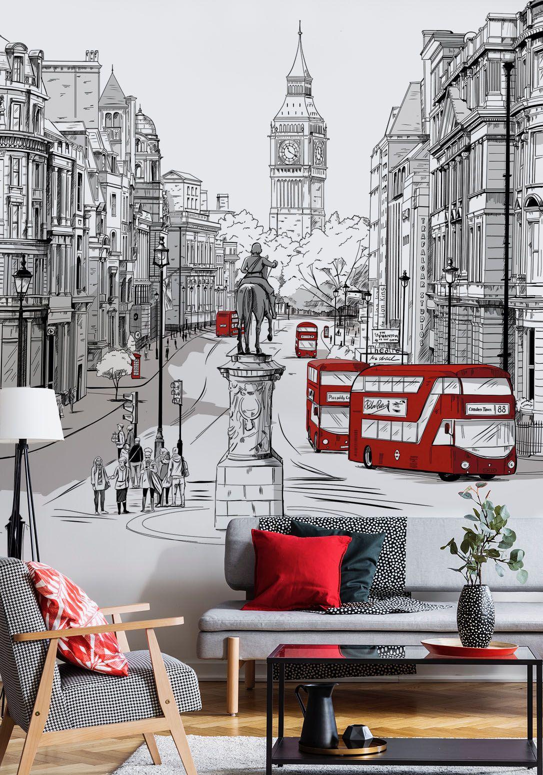 London mural big ben wallpaper street city london