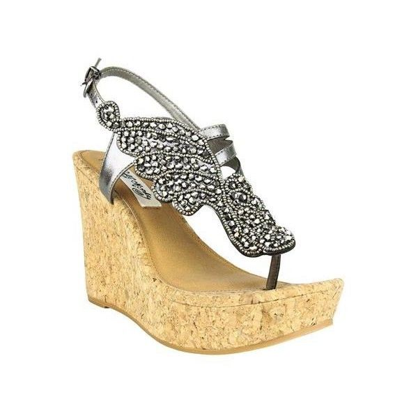 Naughty Monkey Womens Winged Beauty Wedge Sandals ($75) ❤ liked on Polyvore  featuring shoes