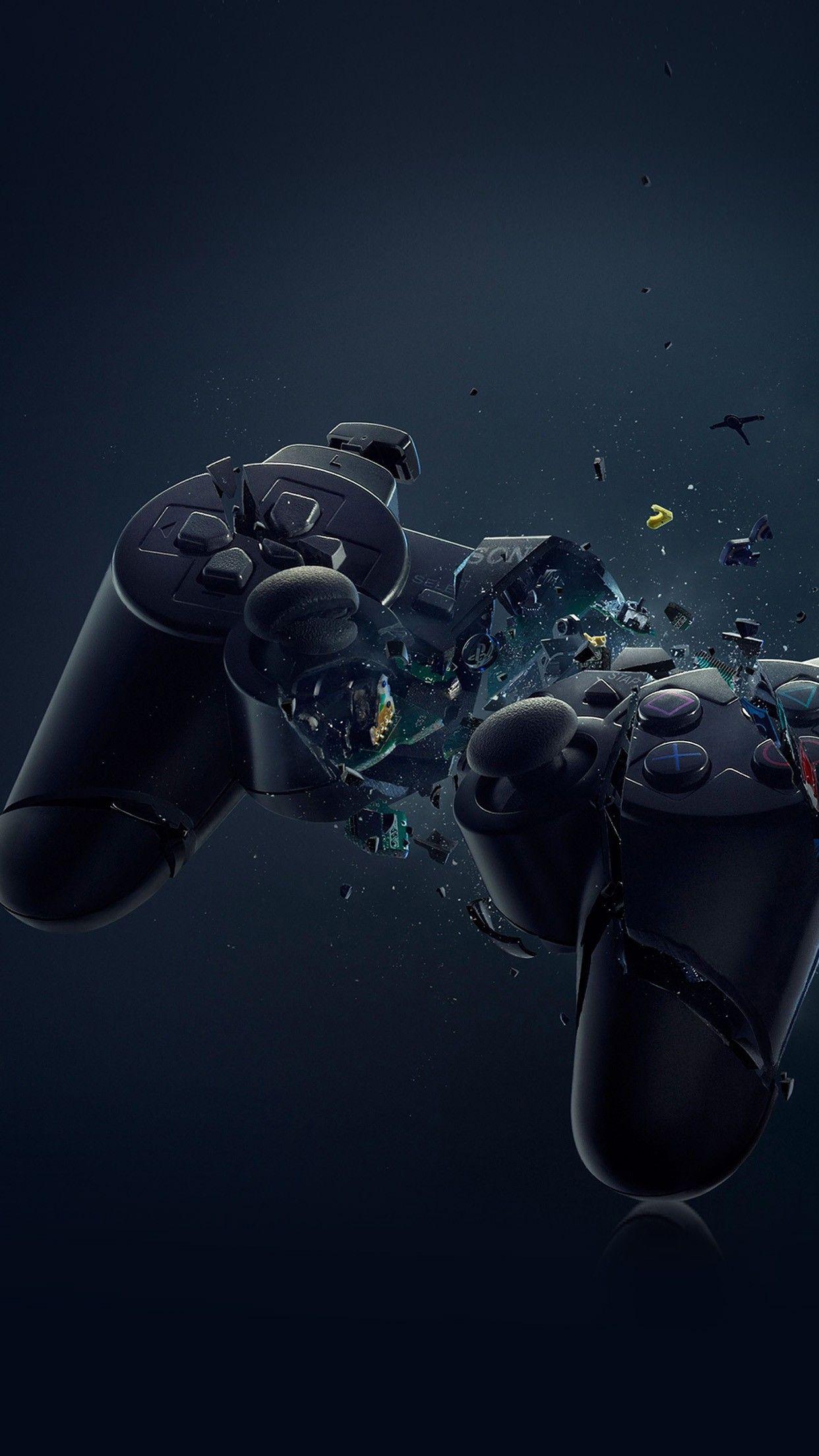 PS3 Broken Joystick Illustration Games Art Smartphone