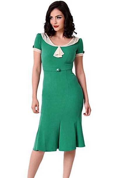 New Green & Weiß Vintage Midi Kleid Büro Wear Party Wear Sommer Wear ...