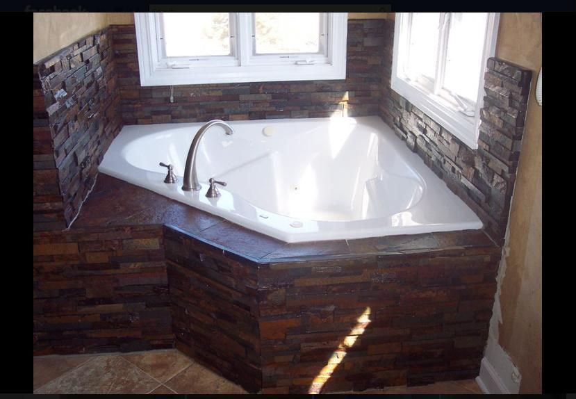 Corner Jacuzzi With Slate Tile Surround Corner Jetted Tub Mobile Home Bathrooms Corner Jacuzzi Tub