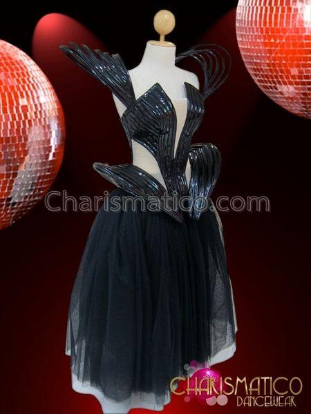 CHARISMATICO Futuristic Black Vinyl Gaga Corset Dress and Ball Gown Length Tutu
