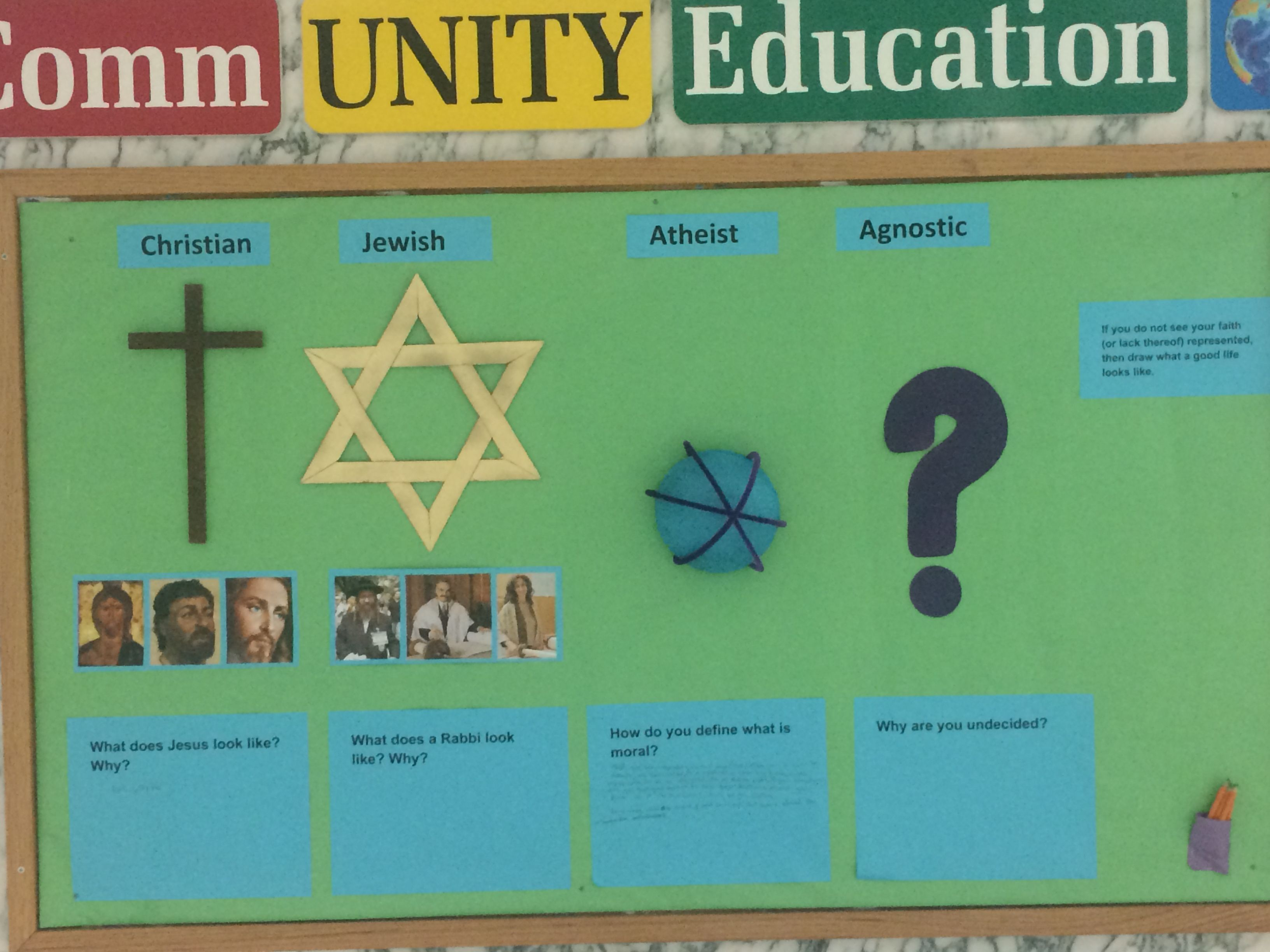Bulletin Board Examine Different Religion And Famou Leader Made By Cody Vaughn Jewish Christian Atheist Agnostic Paraphrasing Plagiarism Iu
