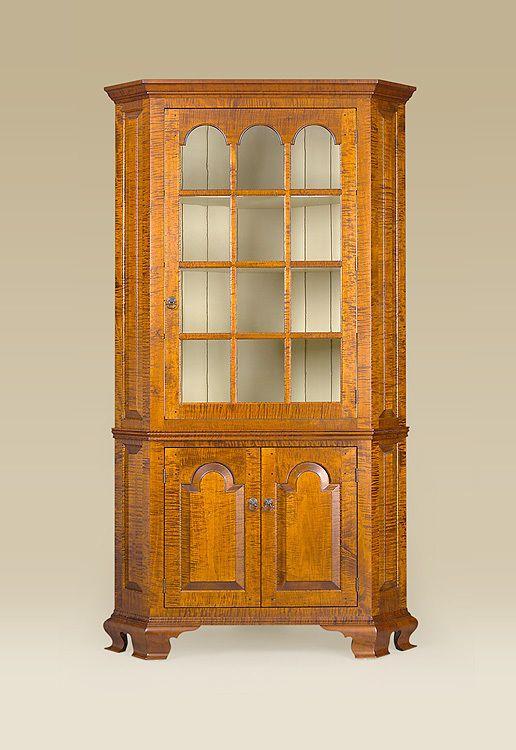 Corner Cabinet Cupboard Tiger Maple Wood Dining Room Furniture