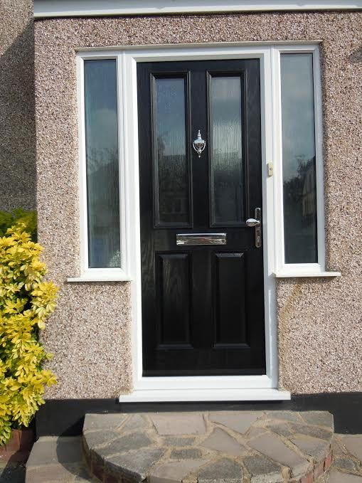 2 Panel 2 Square Glazed Composite Front Door In Black With Two Side