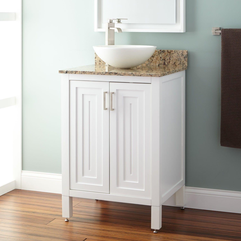24 audra vessel sink vanity white bathroom in 2019 - White bathroom vanity with vessel sink ...