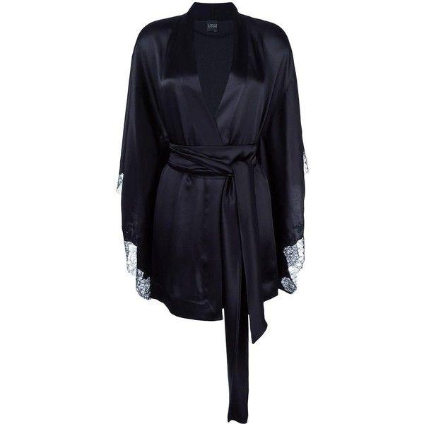 Carine Gilson short kimono (£1,155) ❤ liked on Polyvore featuring intimates, robes, black, silk kimono, carine gilson, kimono robe, silk robe and short kimono robe